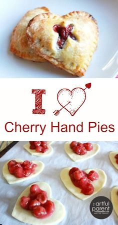 Heart Shaped Cherry Hand Pies for Valentines Day -- Love these! This heart shaped cherry hand pie is a delicious little treat. Filled with homemade cherry pie filling, they are perfect for Valentine's Day, or any day! Valentine Desserts, Valentines Day Food, Köstliche Desserts, Delicious Desserts, Dessert Recipes, Yummy Food, Valentines Baking, Valentines Recipes, Valentine Treats