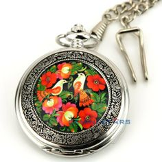 Painting Style Bird Flower Floral Arabic Numerals Lady Pocket Watch+Chain+Box by new brand. $5.99. Watch Case Size: Approx 5.40cm  Watch Case Material: Alloy  Watch Dial Color: White   Chain Material: Alloy  Chain Color: Silver  Length Of Chain: Approx 37.00cm   Daily Water Resistant (not for swimming or showering): Yes  (2.54cm=1.00inch)