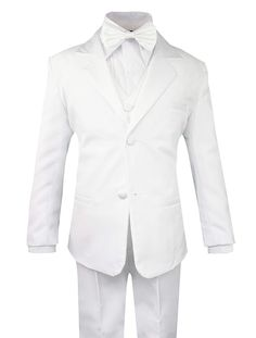 3e75deffab43 Toddler Boys' 5 Piece Classic Fit Formal Suit Bowtie Set - White -  CM182SU9M7Z