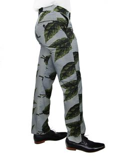 Lightweight ready to wear mens straight leg leaf print pants crafted with soft cotton fabric.