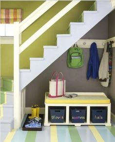 Label everything! Whether you have a gigantic mudroom, or just a small space tucked under the stairs, it's important to label bins, cubbies and drawers with their contents, so everyone in the house knows where things go. Use chalkboard paint on bins, so labels can be easily changed with the seasons. Bins holding hats and scarves now can be repurposed to hold baseball gloves and beach towels in the summer. If you have small children in the house who can't read yet, draw a picture of what goes