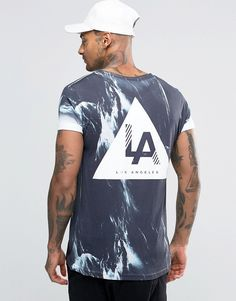 Image 1 of New Look T-Shirt With LA Marble Print In Black