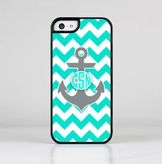 The Teal Green and Gray Monogram Anchor on Teal Chevron Skin-Sert for the Apple iPhone 5c Skin-Sert Case