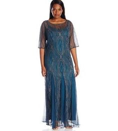 25 Gorgeous Mother of The Bride Dresses 2017: Beautiful long blue plus size dress for mother of the bride with beaded gold lace overlay by Brianna
