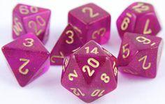 Borealis Dice (Magenta) RPG Role Playing Game Dice Set
