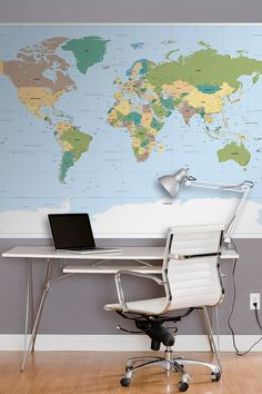 "WallPops! World Map Wall Mural. 6'x 4'2"" 37.50 usd >> Want!"