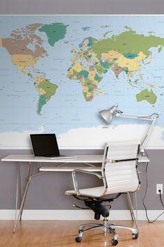 "WallPops! World Map Wall Mural. 6'x 4'2"" 37.50 usd >> Want!"