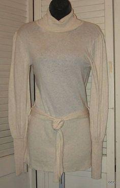 Twiggy Cream Wool Blend Turtleneck Long Belted Tunic Sweater Top Juniors L #Twiggy #TurtleneckMock