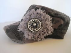 Cadet Military Distressed Hat in Grey Camouflage by theraggedyrose, $35.00