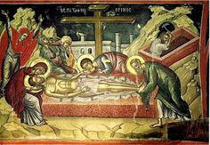 The Burial Lamentations. by Theophanes the Cretan. Dating from the middle century. In situ Holy Monastery of Stavronikita, Mount Athos. Holy Friday, Holy Saturday, Byzantine Icons, Byzantine Art, Mike Bell, Lamentations, Powerful Images, Holy Week, Orthodox Icons