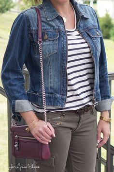 26 Days of Fall Outfit Ideas: Stripes + Olive Cargos + Denim Jacket + Leopard