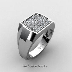 Mens Modern 14K White Gold Micro Pave Diamond by artmasters