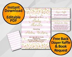SALE 60% OFF  It's super easy and included instructions and a HOW-TO Video! You don't need software or special fonts installed. Why pay more when you can get the same profe... #editable #pink #gold #confetti #printable ➡️ https://www.etsy.com/digiinvites/listing/528236236/instant-download-baby-shower-invitation?utm_campaign=products&utm_content=4c94e867ba5241b4a34272b61043b171&utm_medium=pinterest&utm_source=sellertools