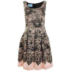 PRADA Silk Lace Print A-Line Dress (£795) ❤ liked on Polyvore featuring dresses, vestidos, prada, black, zipper dress, prada dresses, silk dress and a line dress