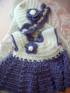 Crochet baby girl dress and hat handmade newborn 0/3
