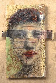 'Modern Portrait of an Ancient Face' by artist Lisa Jones Moore. based on an ancient egyptian encaustic portrait.- would be nice to do with high school Art Journaling, Art Du Collage, L'art Du Portrait, Art Visage, Kunst Online, Creation Art, Modern Portraits, Art Sculpture, Sculpture Portrait
