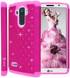 LG G Stylo Case, LG G4 Stylus / LG LS770 Case, Style4U Studded Rhinestone Crystal Bling Hybrid Armor Case Cover for LG G Stylo / LG G4 Stylus LS770 with 1 Style4U Stylus [Hot Pink / Hot Pink]