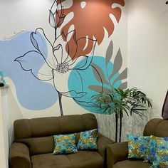 Mural Wall Art, Stencil Designs, Living Room Kitchen, Wall Spaces, Painting Techniques, Wall Design, Watercolor Art, Interior Design, Drawings