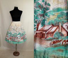 50s Skirt Novelty Print Skirt 1950s Circle Skirt S Western Theme Horses by SissysVintage on Etsy