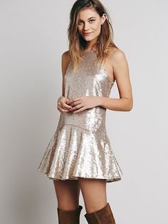 Free People Liquid Shine Mini Dress at Free People Clothing Boutique