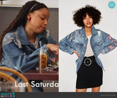 Jazlyn's denim jacket with bows on Grown-ish.  Outfit Details: https://wornontv.net/93134/ #Grown-ish