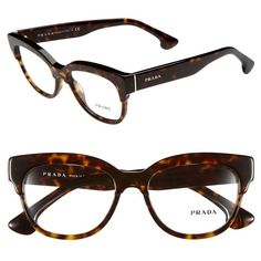Prada 51mm Optical Glasses ($300) found on Polyvore