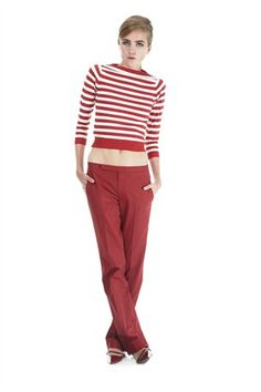 3/4 Slv Stripe Boatneck Sweater & Pant