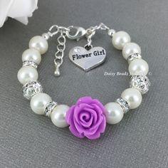 Purple Flower Girl Bracelet Flower Girl Jewelry Flower Girl Gift for Her Pearl Bracelet Charm Bracelet Girl's Jewelry Wedding Jewelry FG101 by JoaillerieDaisy on Etsy https://www.etsy.com/ca/listing/188951768/purple-flower-girl-bracelet-flower-girl