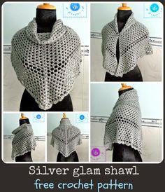 Silver glam shawl  #freecrochetpattern