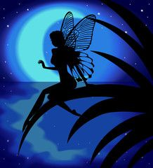 Silhouette fairy girl on a background with the moon                                                                                                                                                                                 More