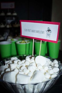 Marshmallows at a Ghostbusters birthday party! See more party ideas at CatchMyParty.com!