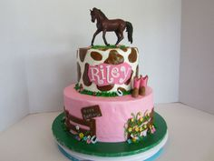 BC icing with fondant decorations. The horse is a toy that matches the birthday girls new horse.