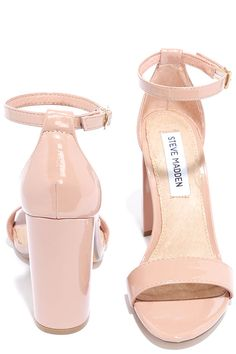 The Steve Madden Carrson Blush Patent Ankle Strap Heels are on fire with a simple design that is a total knockout! Soft, faux patent leather shapes a minimal toe strap and adjustable ankle strap (with gold buckle).