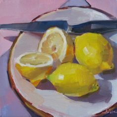 Lemon Plated fruit food still life kitchen art painting original oil on canvas, painting by artist Sarah Sedwick