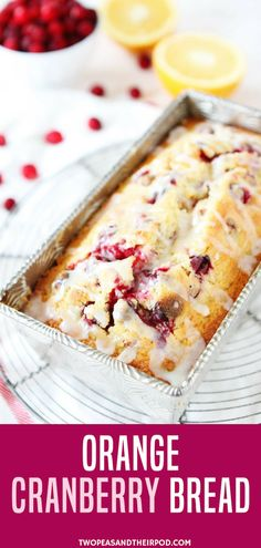 Consider breads as a holiday gift? Try this Orange Cranberry Bread. It's sweet orange bread dotted with fresh cranberries and drizzled with an orange glaze! This bread is perfect for the holidays! It makes a great gift too! This bread looks festive and pe Festive Bread, Holiday Bread, Christmas Bread, Holiday Baking, Christmas Baking, Christmas Holiday, Xmas, Fresh Cranberry Recipes, Cranberry Orange Bread