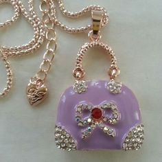Purse pendant with necklace Crystal purple handbag Betsey Johnson Accessories
