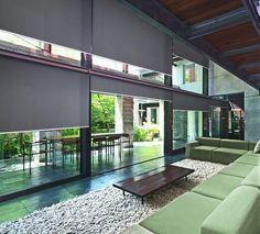 Living area and garden patio of contemporary town house
