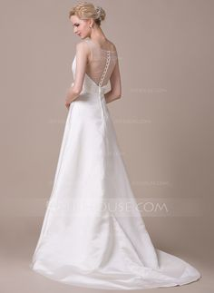 A-Line/Princess Scoop Neck Court Train Satin Tulle Wedding Dress With Beading Flower(s) (002059213) - JJsHouse