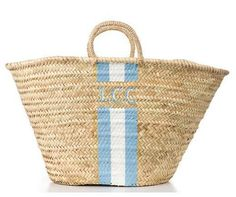 Lyford Monogrammed Straw Bag from Lindroth Island Bags