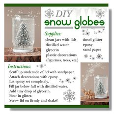 """DIY snow globes"" by lgb321 ❤ liked on Polyvore featuring interior, interiors, interior design, maison, home decor et interior decorating"