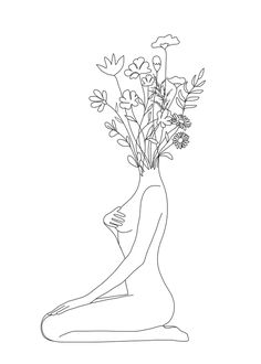 Minimal Line Bloom Mini Art Print by Nadja - Without Stand - x Minimal Drawings, Art Drawings Sketches, Disney Pencil Drawings, Art Encadrée, Art Mural, Outline Art, Line Artwork, Line Art Tattoos, Abstract Line Art