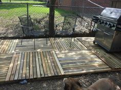 Pallet deck. I like the criss-cross of the pallets to make it look like a patterned floor