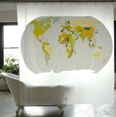 World Map PEVA Shower Curtain | Izola