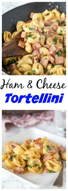 Ham & Cheese Tortellini – use that leftover ham to make this easy creamy tortellini dinner in 20 minutes!  Great one pan meal any night of the week!
