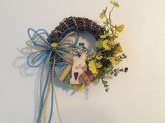 SALEITEM50, Easter wreath, bunny wreath, Floral wreath for Easter, Yellow and blue Easter wreath, Easter decor,