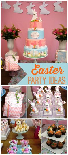 Such a pretty Easter party that doubles as a birthday party! See more party ideas at CatchMyParty.com!
