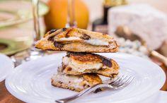 Grilled Mascarpone Asian Pear Sandwich on Cinnamon Raisin Bread and Flourless Chocolate Cake