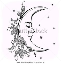Beautiful crescent moon with feathers and stars. Elements. Tattoo design. Vector illustration. #263490770