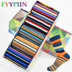 Casual Mens Socks Chromatic Stripe Five Pairs Of Socks Man With The Final Design Clothing Fashion Designer Style Cotton No Box  Price: $ 18.99   #QUALITY #AWESOMEPRODUCTS #FREESHIPPING #GETSOCKED