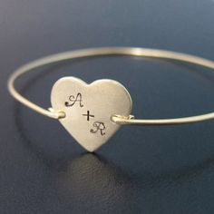 Heart Bracelet Personalized Couples Initials One Year Anniversary Gift for Girlfriend Jewelry Girlfriend Bracelet 1 Year Anniversary for Her – Hijab Club Initial Bracelet, Heart Bracelet, Heart Jewelry, Bangle Bracelets, Gifts For Wife, Gifts For Her, Stylish Alphabets, Best Friend Bracelets, One Year Anniversary Gifts